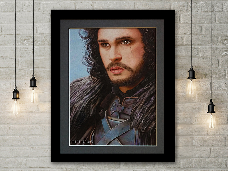 mananeh.art jon snow color pencil drawing faber castel